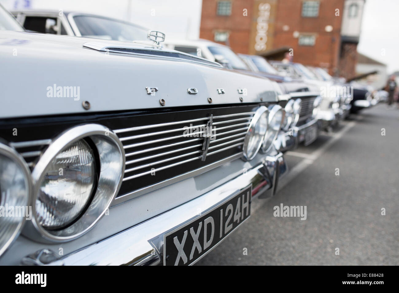 Classic Ford Zodiac motor car grill with badge in a row with other ...