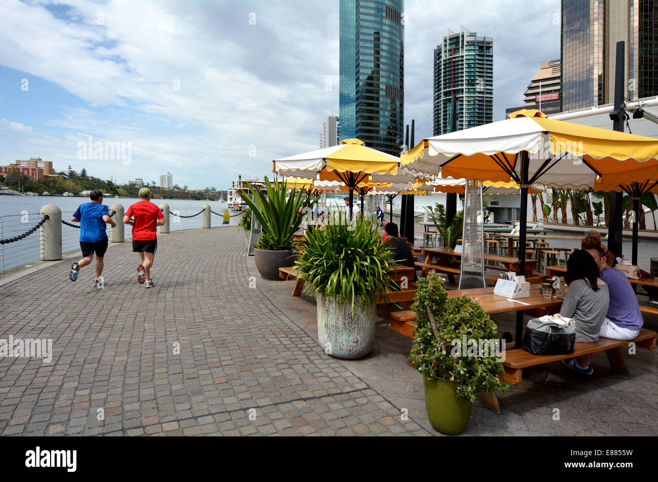 BRISBANE, AUS - SEP 25 2014:Activity at Eagle Street Pier.It is an iconic waterfront precinct with world class dining - Stock Image