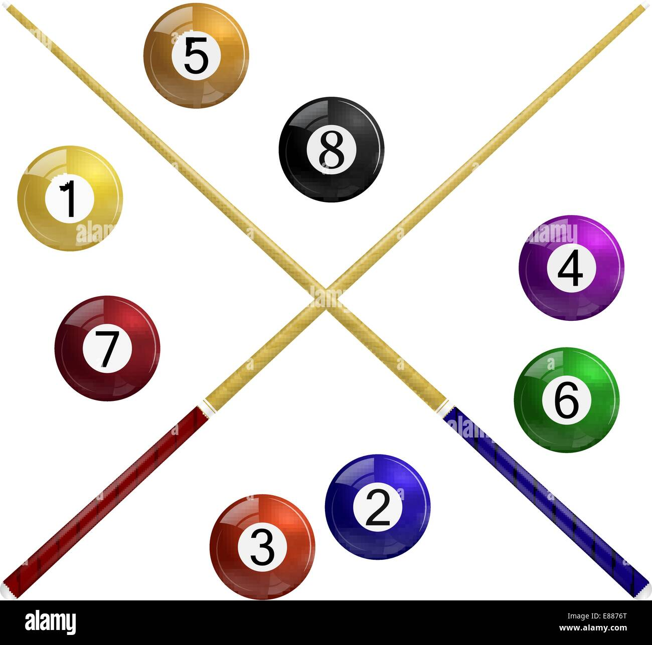 Two cue and billiard balls on a white background - Stock Vector