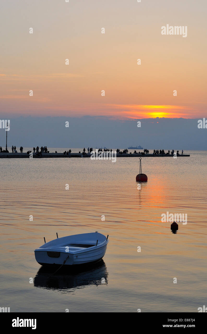 Molo Audace at sunset Trieste Italy Stock Photo