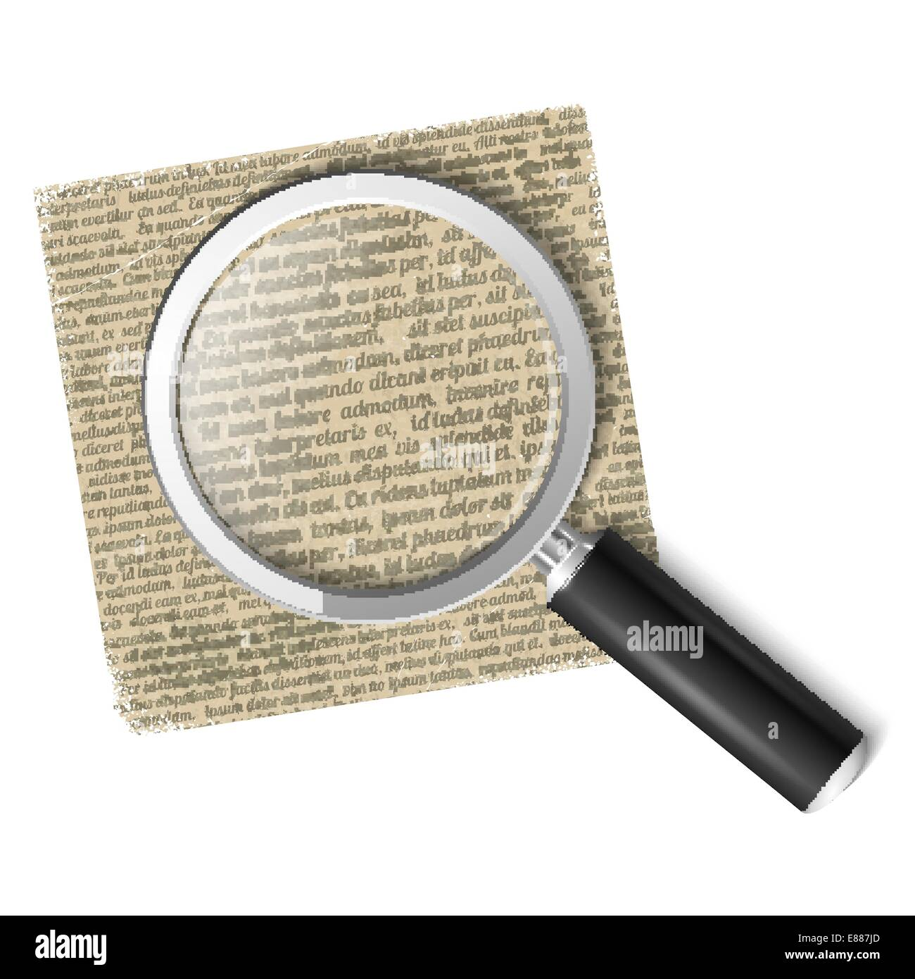 Magnifying glass over text - Stock Vector