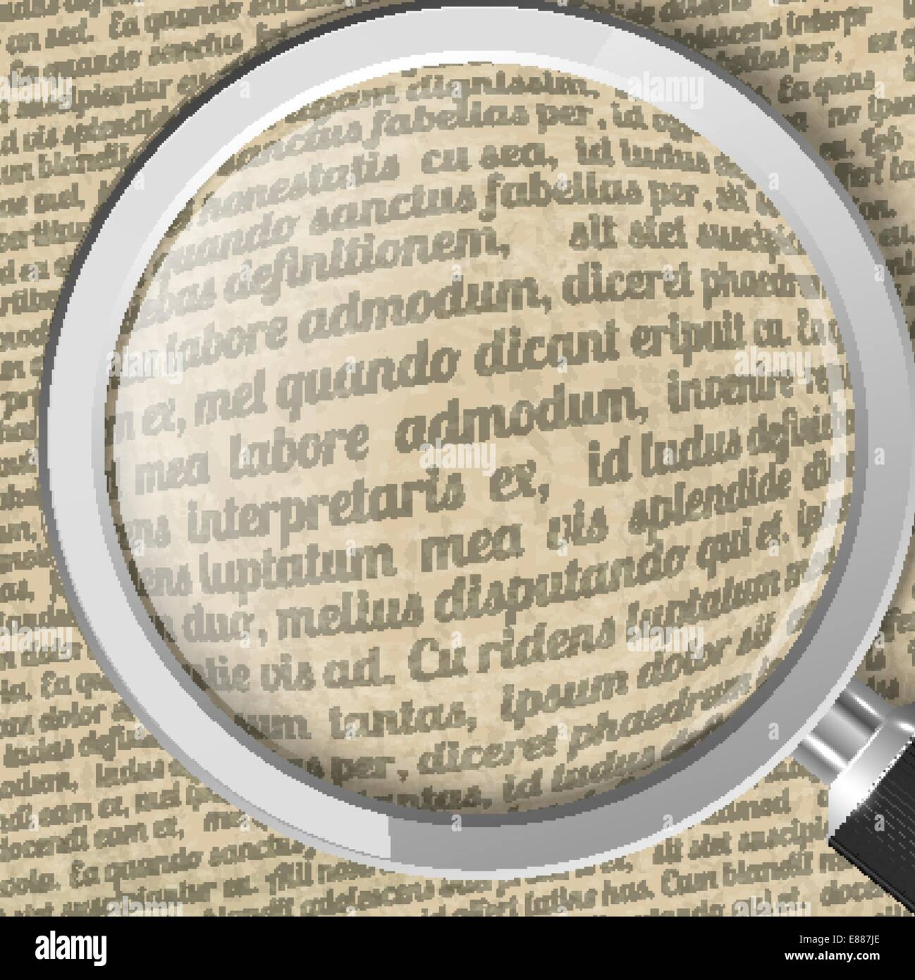 Magnifying glass and old sheet of paper with text - Stock Vector