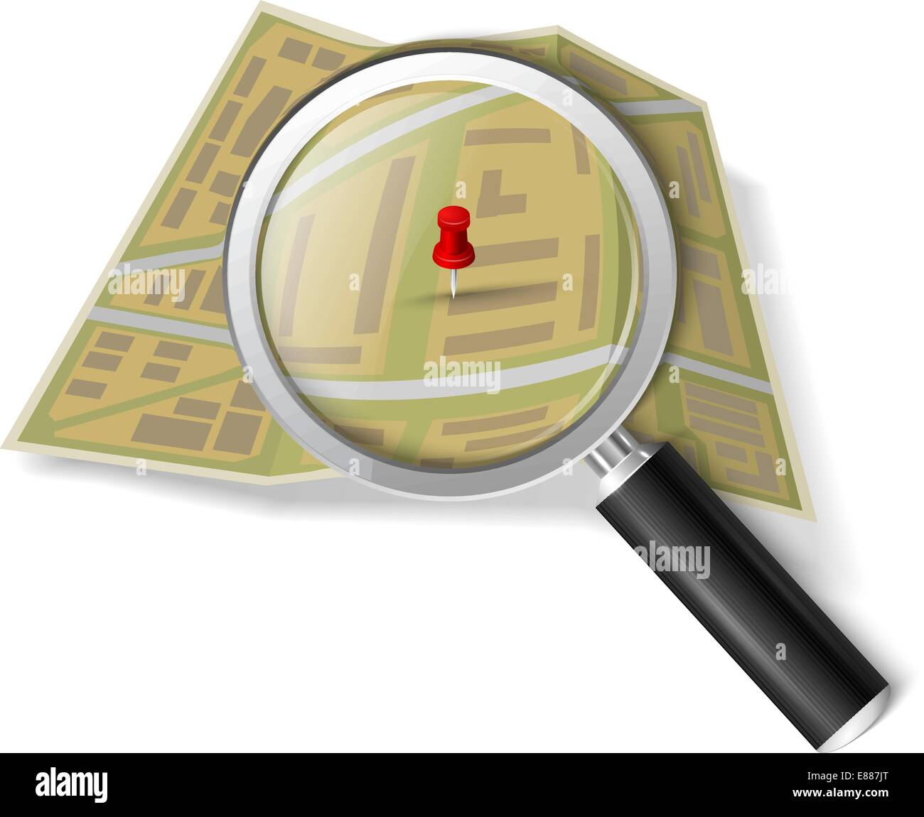 Magnifying glass over the map - Stock Vector