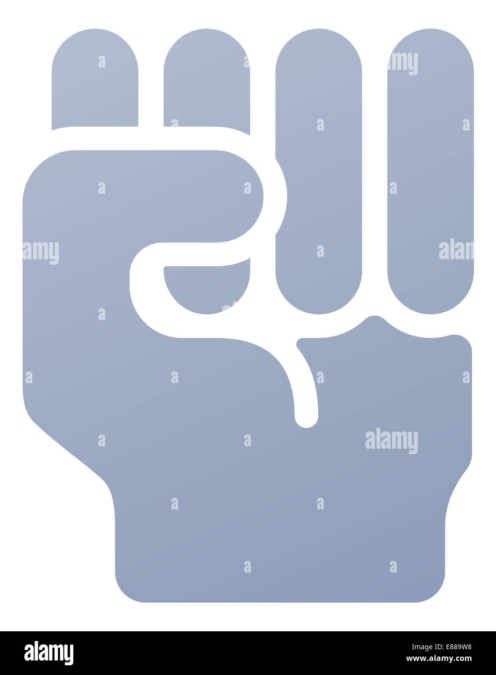 Fist icon illustration of a hand in in clench fist gesture - Stock Image