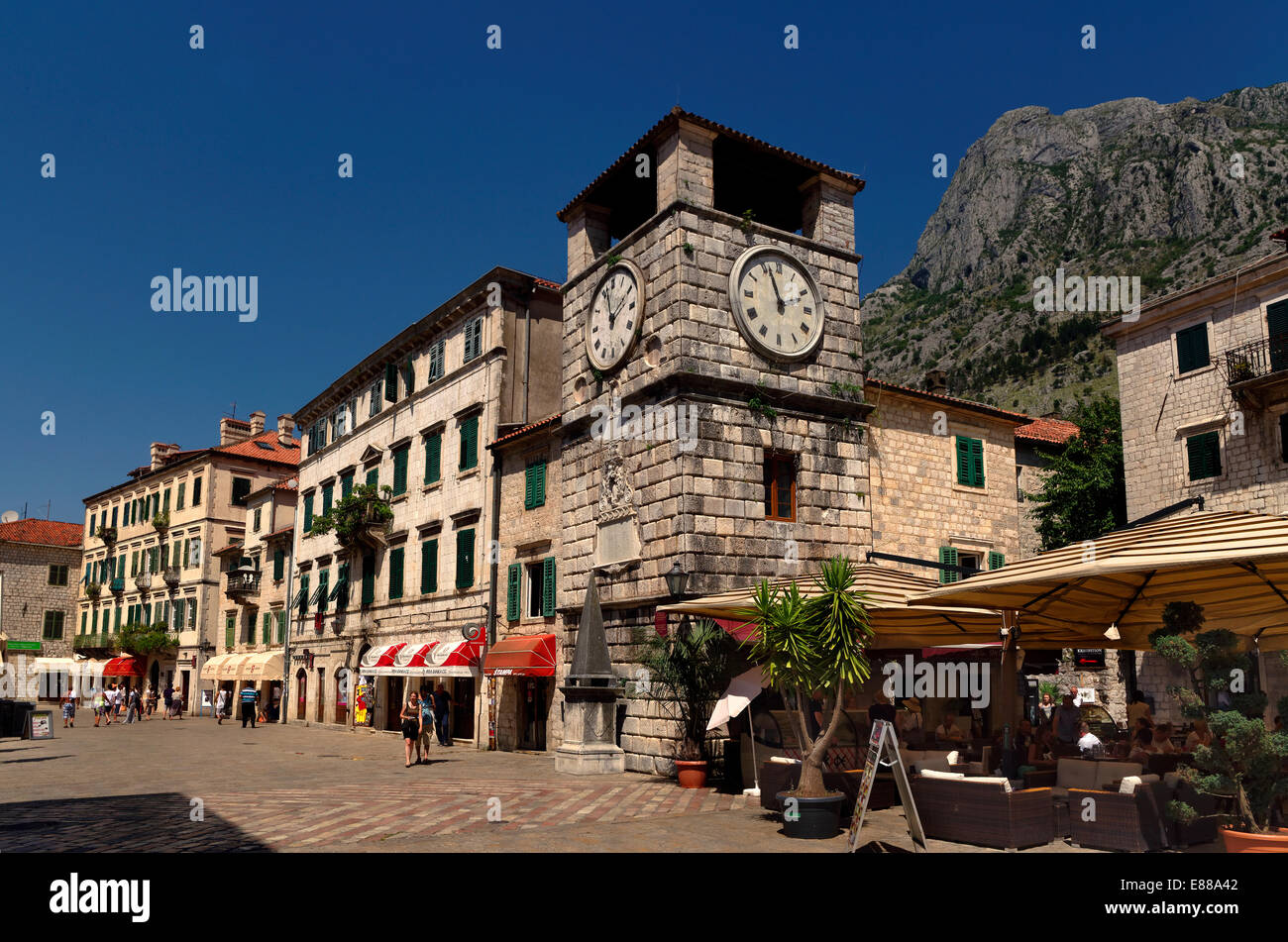 Clock tower and Square of Arms at Kotor Old Town, Montenegro. Stock Photo