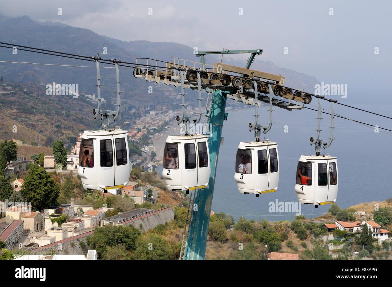 Arial Tramway between Taormina and the beaches at Mazzaro Sicily Italy - Stock Image