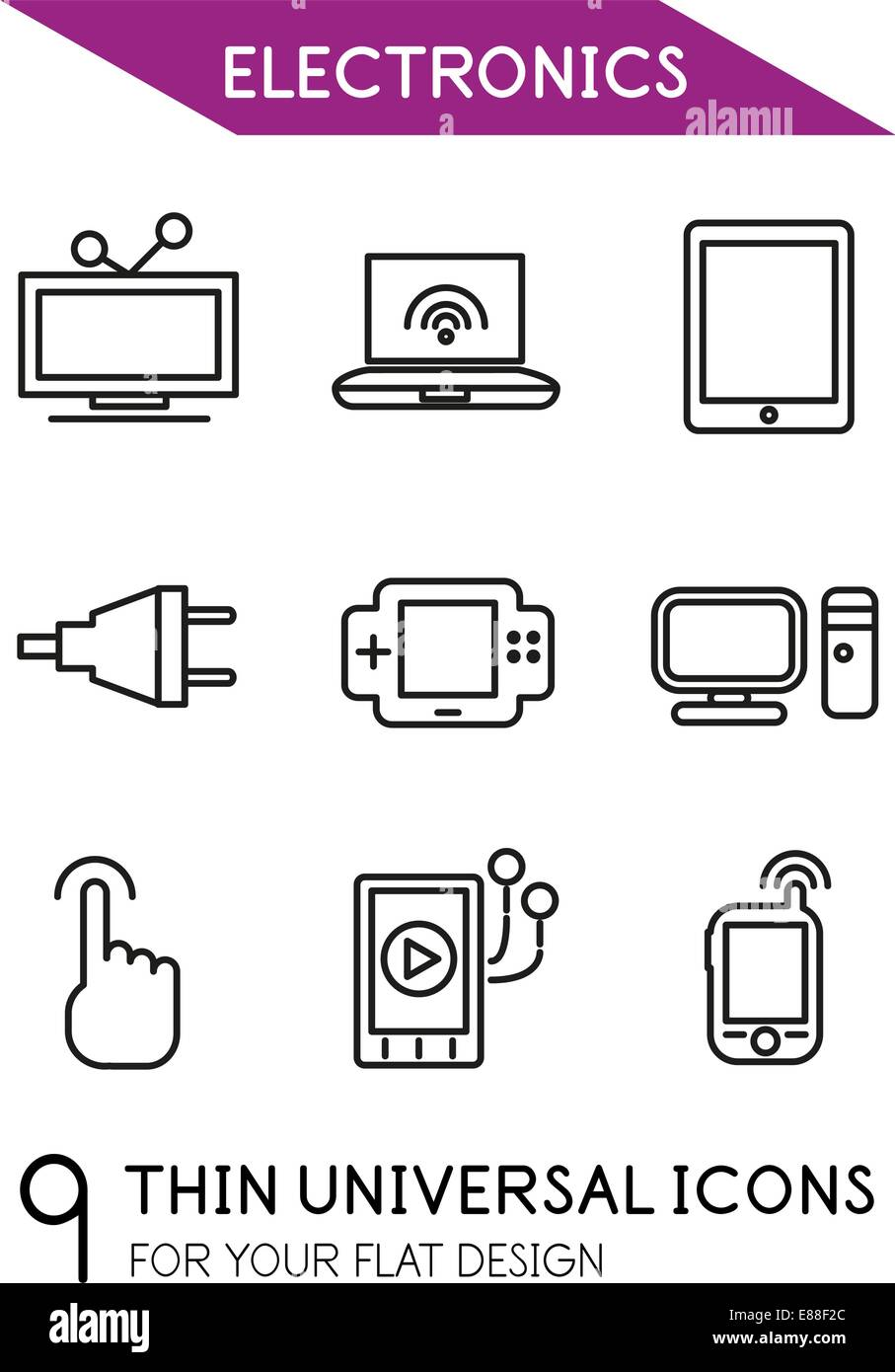 Electronics thin line icon set - 9 computer symbols for your flat ...