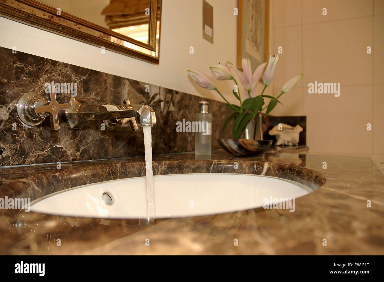 Close up of chrome taps and white basin in marble vanity unit Stock ...