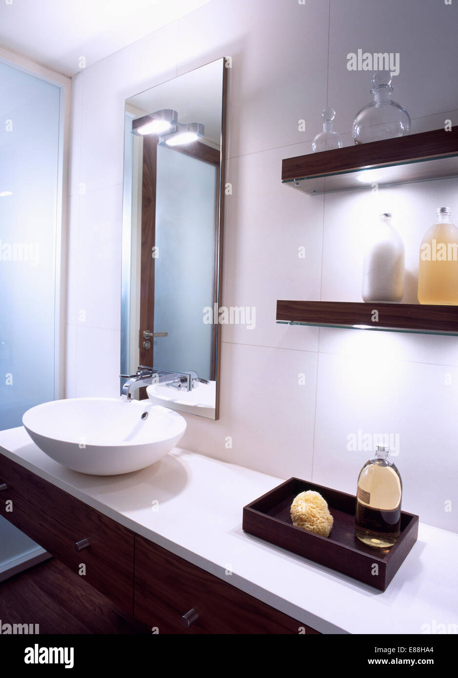 Awesome Mirror Above Bowl Basin On Vanity Unit With Sponge And Bath Interior Design Ideas Oxytryabchikinfo