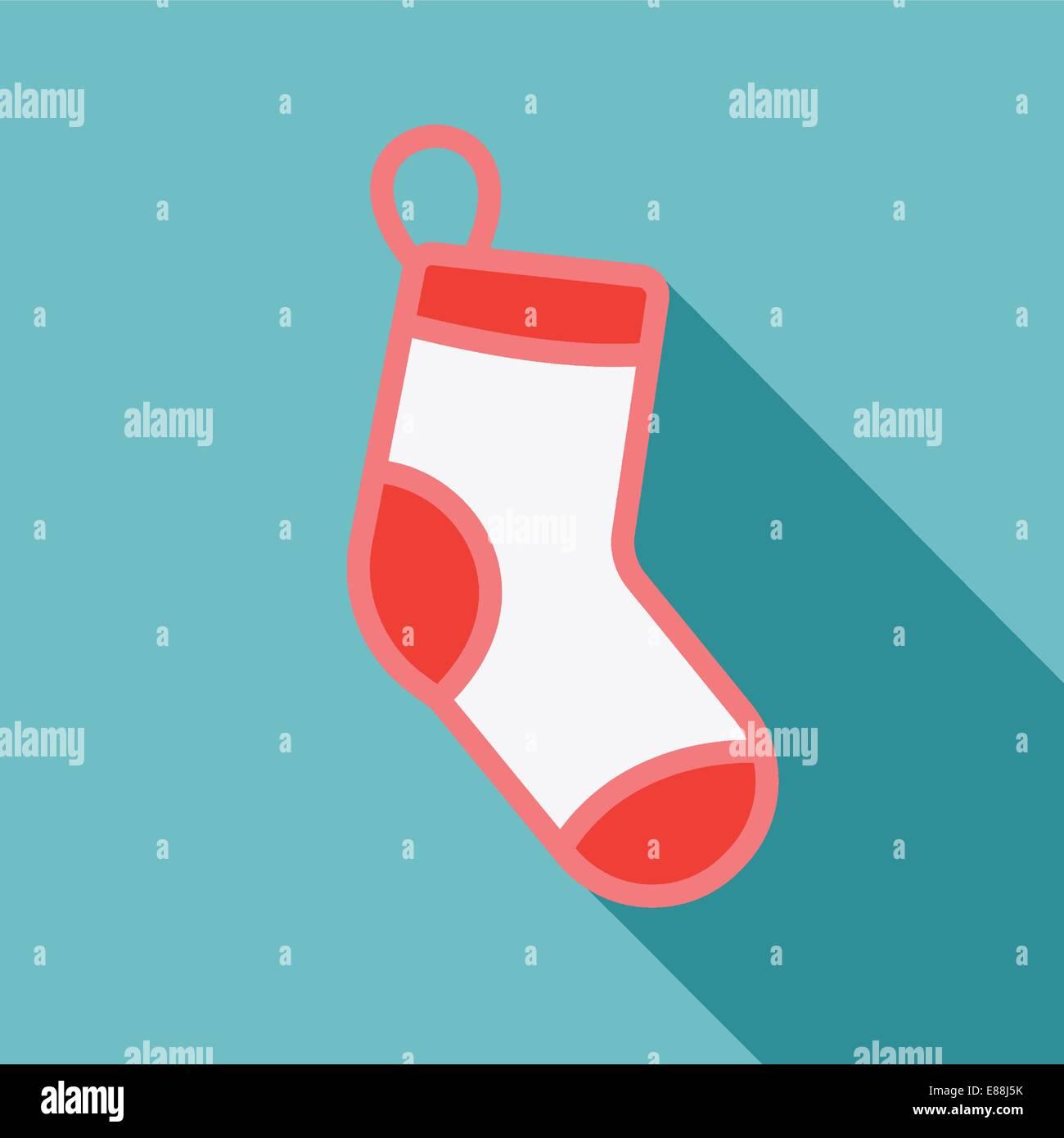 White Christmas stocking on blue background - Stock Image