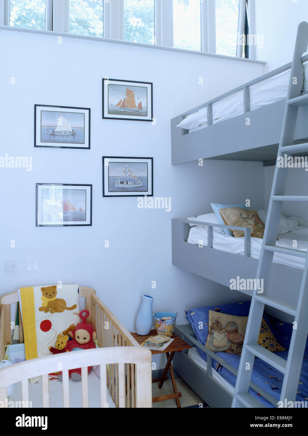 Babies Cot And Triple Bunk Beds With Ladder In Children S Modern