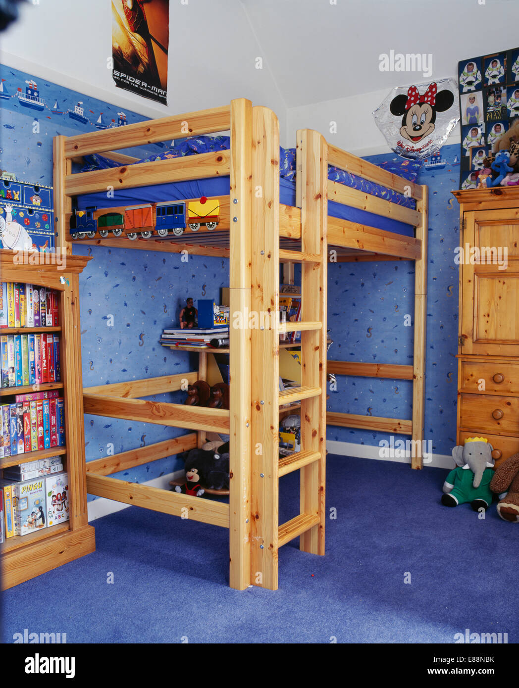 Integral Wooden Ladder To Platform Bed In Child S Bedroom With Blue Stock Photo Alamy