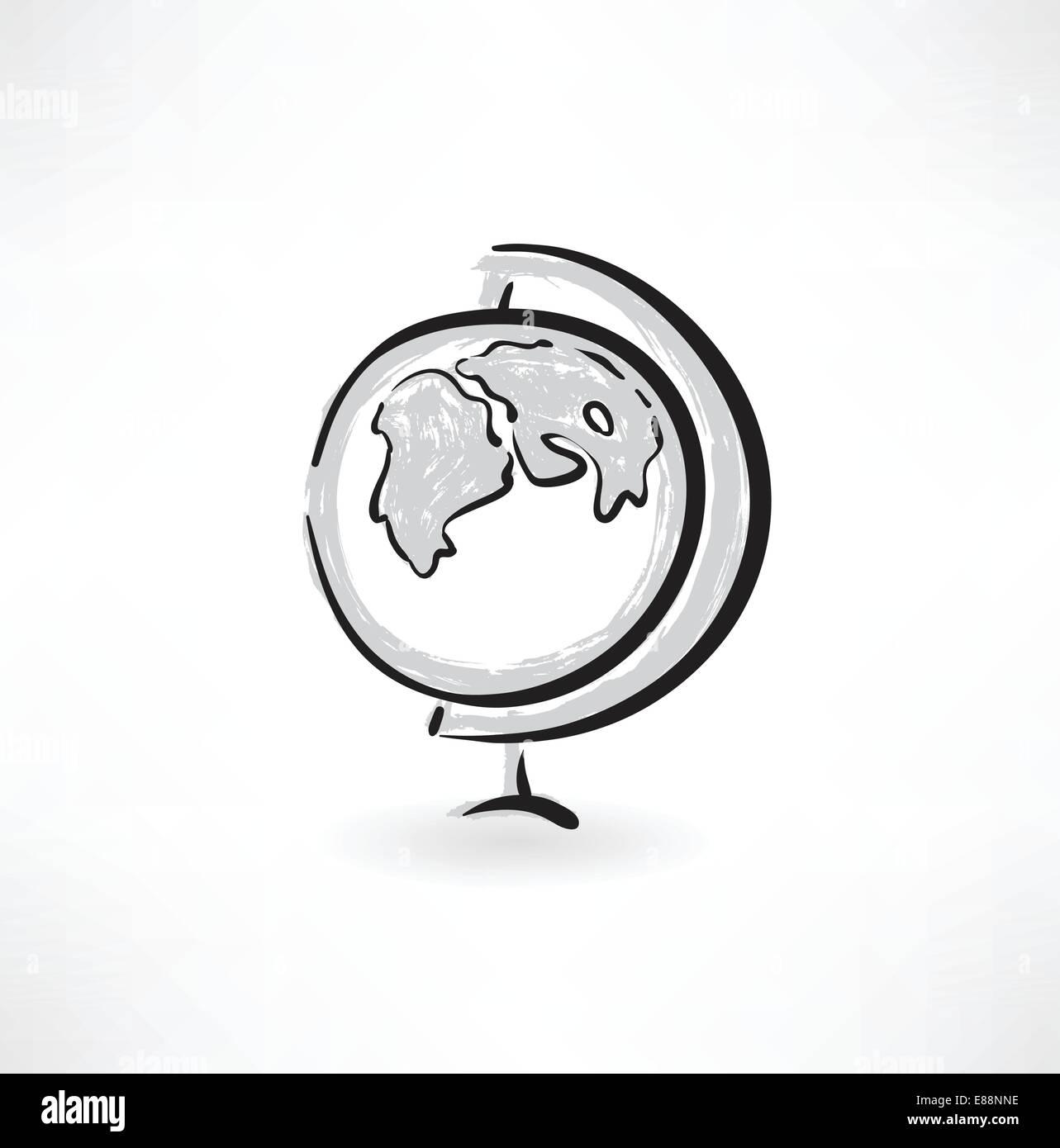 globe grunge icon - Stock Image
