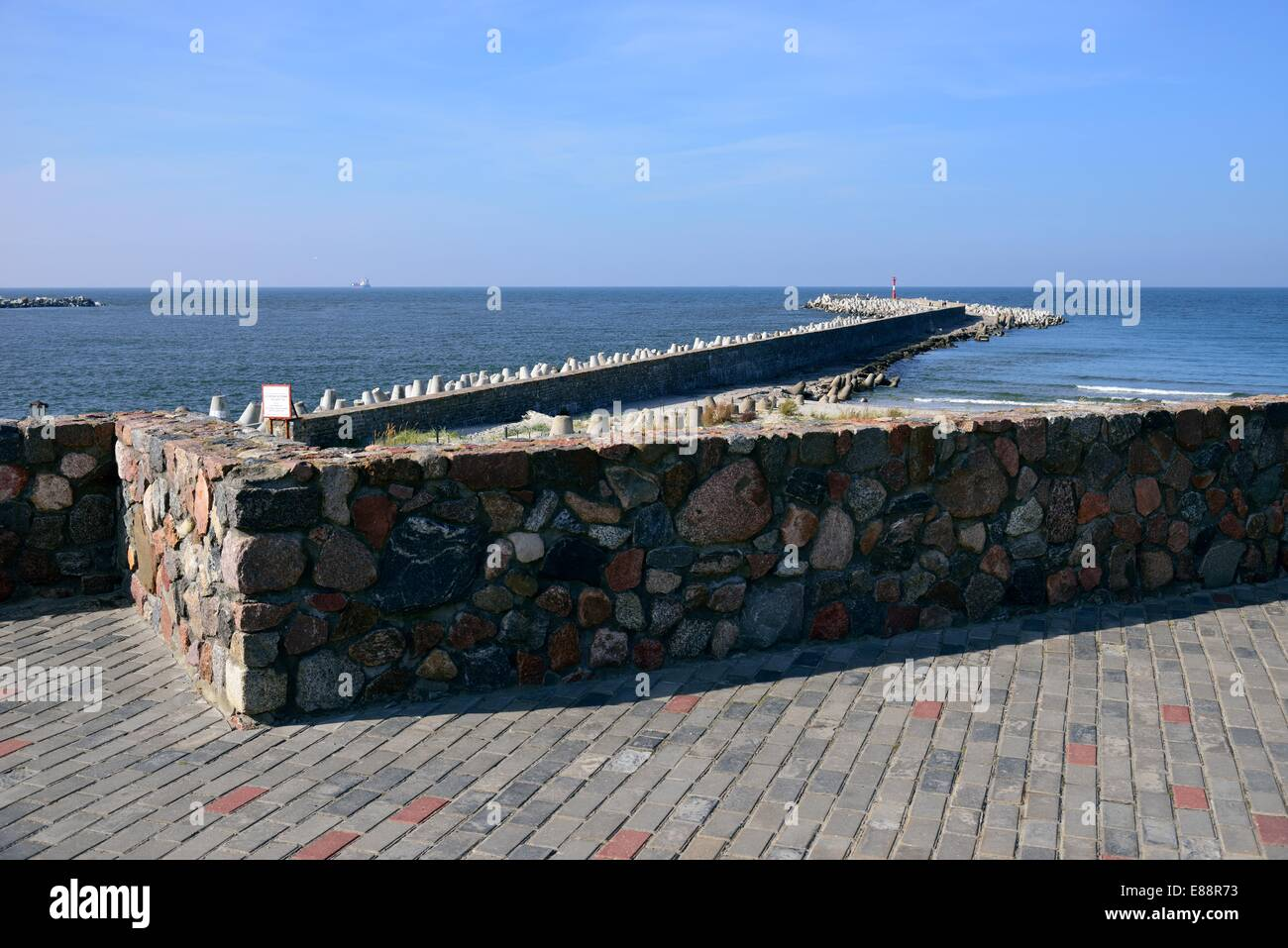 Baltic sea coast, breakwater in Baltiysk. Russia - Stock Image