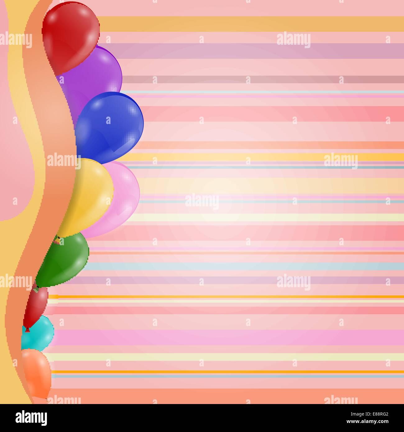 Striped Retro Background Birthday Invitation With Balloons Stock