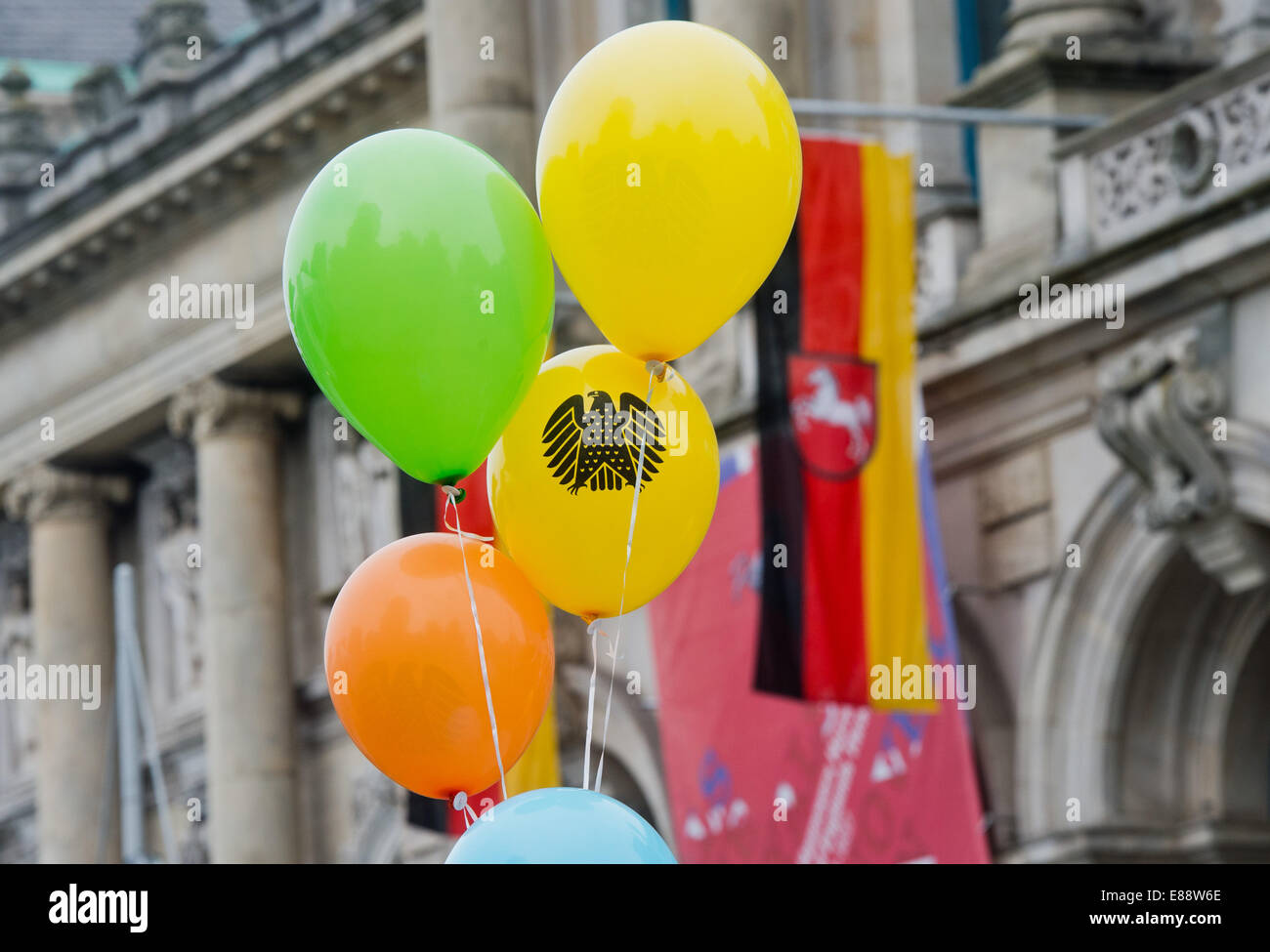 Balloons with a German Eagle at the citizens' festival for Day of German Unity in Hanover,Germany, 02 - Stock Image
