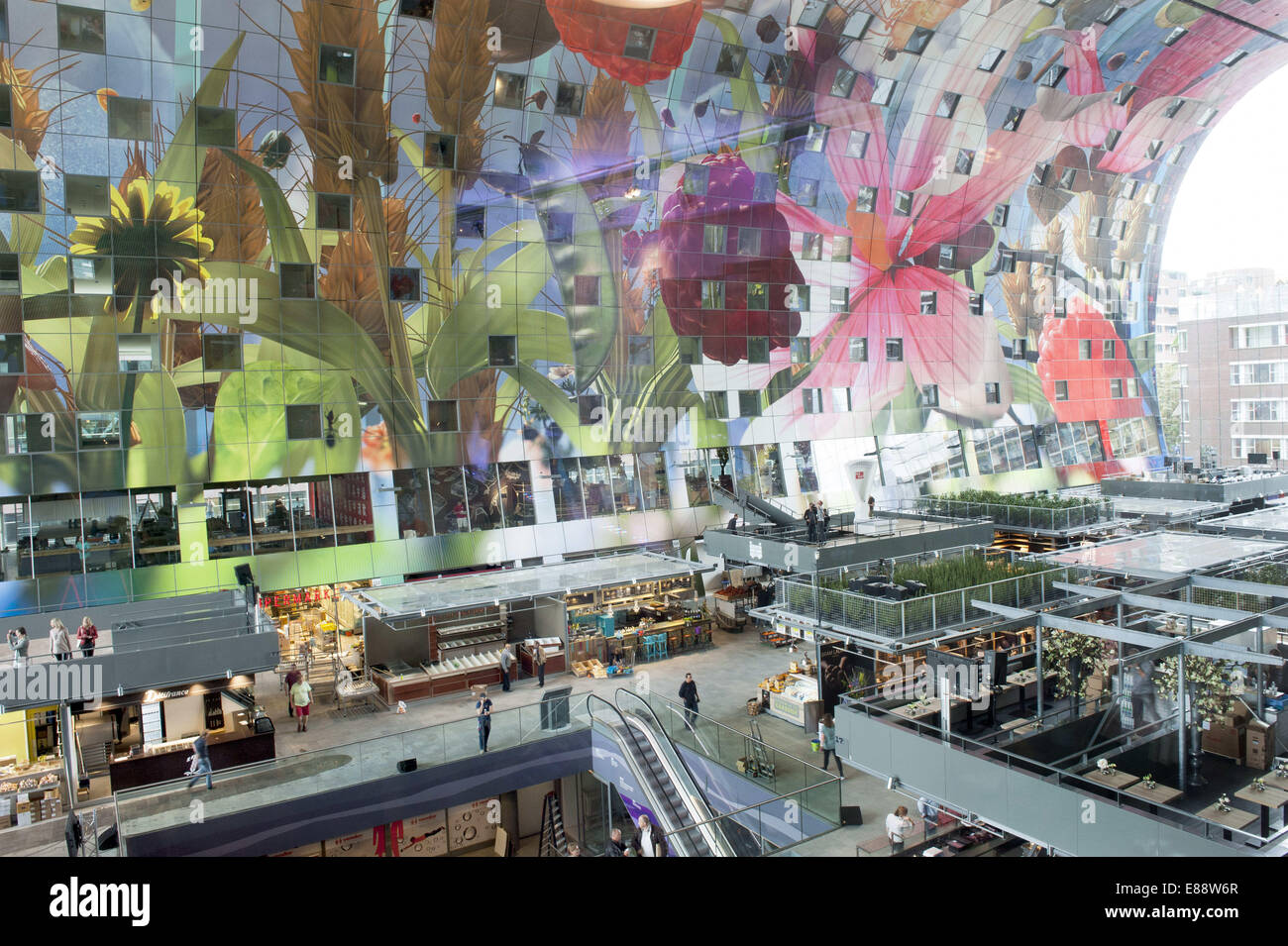 Sept. 30, 2014 - Rotterdam, South Holland, The Netherlands, Holland - The Markthal in the city Rotterdam...Indoor Stock Photo