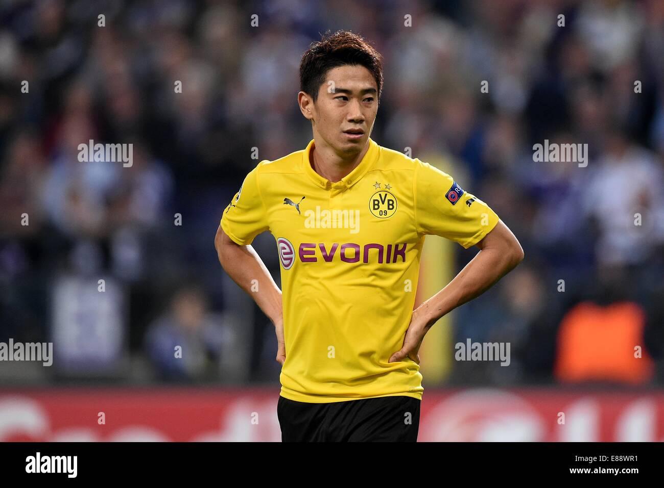 Shinji Kagawa of Borussia Dortmund reacts during the UEFA Champion League Group D soccer match between RSC Anderlecht - Stock Image