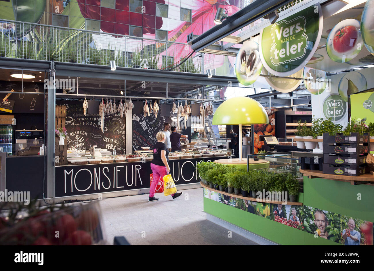 Sept. 30, 2014 - Rotterdam, South Holland, The Netherlands, Holland - A visitor walks iin the Markthal in Rotterdam. Stock Photo