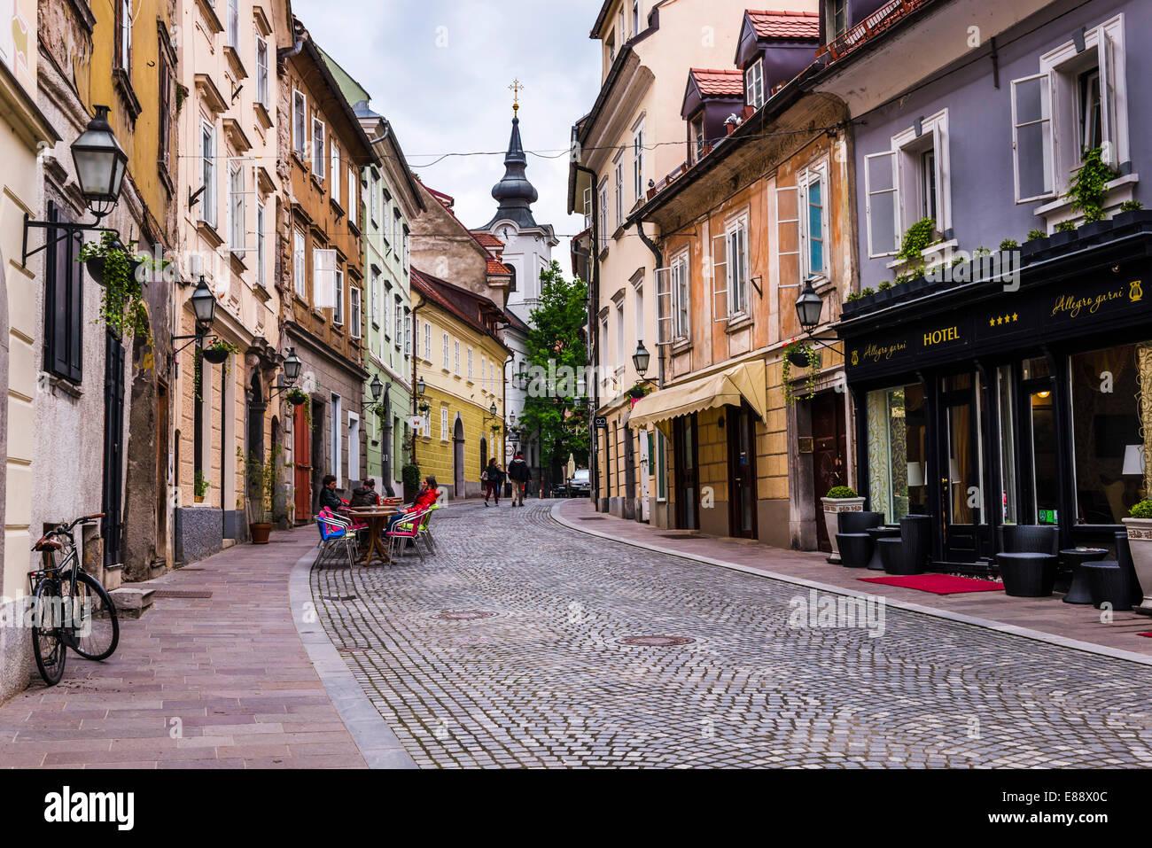 Cobbled street, Ljubljana, Slovenia, Europe - Stock Image