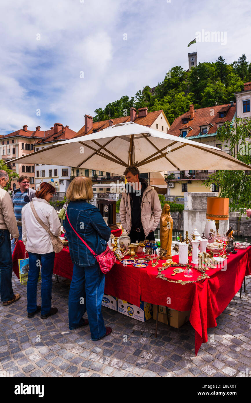 Ljubljana Sunday antiques and flea market held on the Breg Embankment in the centre of Ljubljana, Slovenia, Europe - Stock Image