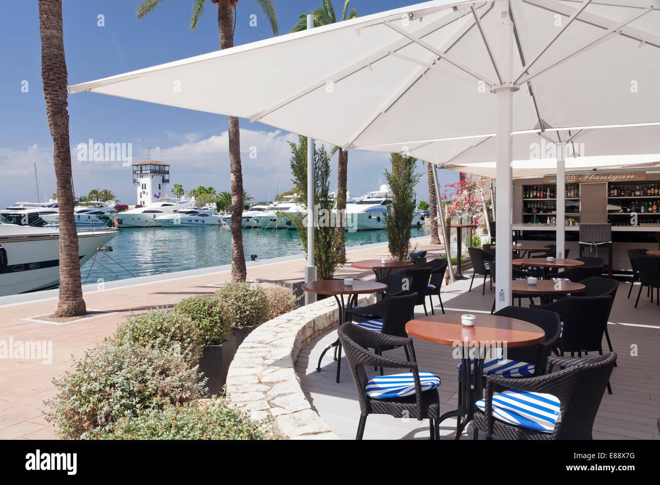 Cafe at promenade at marina, Portals Nous, Majorca, Balearic Islands, Spain, Mediterranean, Europe - Stock Image