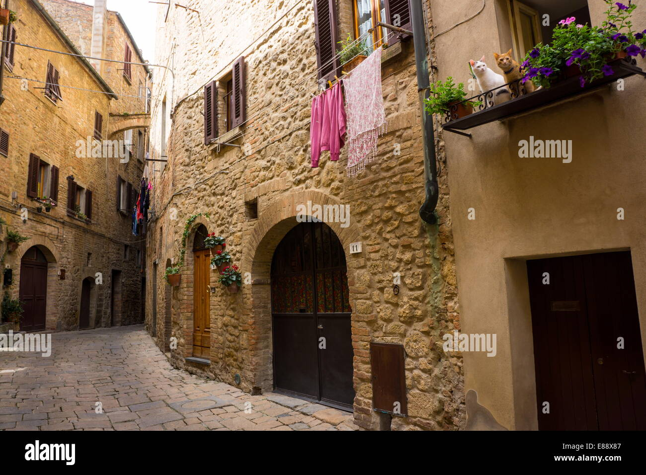 Street in old town, Volterra, Tuscany, Italy, Europe - Stock Image