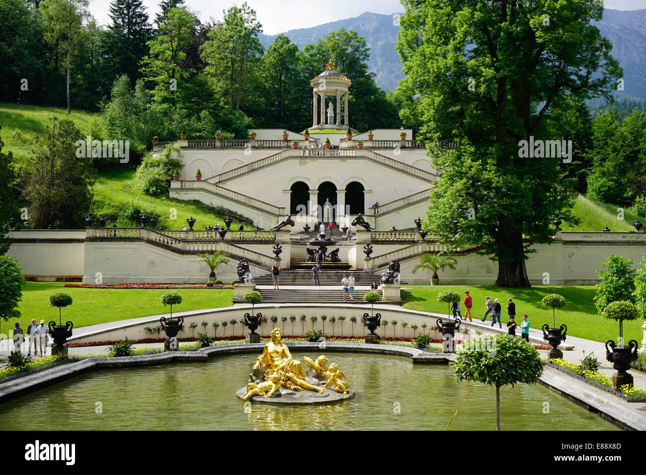 Gardens at the Palace of Linderhof, King Ludwig the Second's royal villa, Bavaria, Germany, Europe - Stock Image