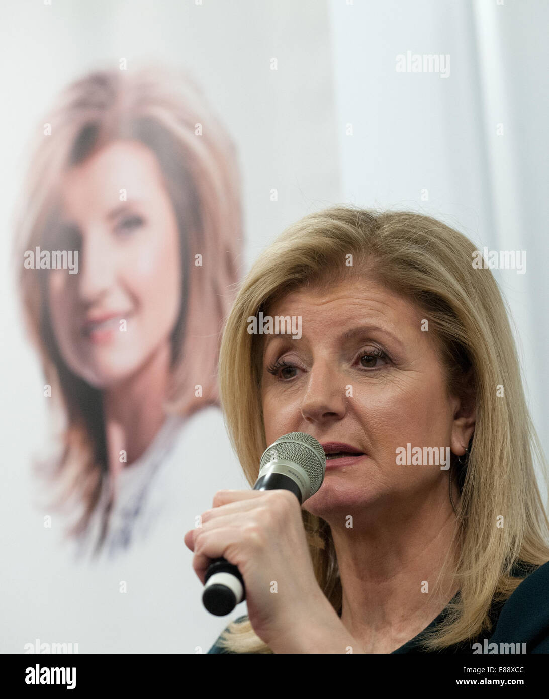 Berlin, Germany. 24th Sep, 2014. Author Arianna Huffington speaks about her new book 'Thrive: The Third Metric - Stock Image