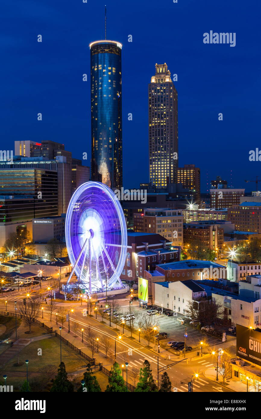 City skyline, elevated view over Downtown and the Centennial Olympic Park in Atlanta, Georgia, United States of - Stock Image
