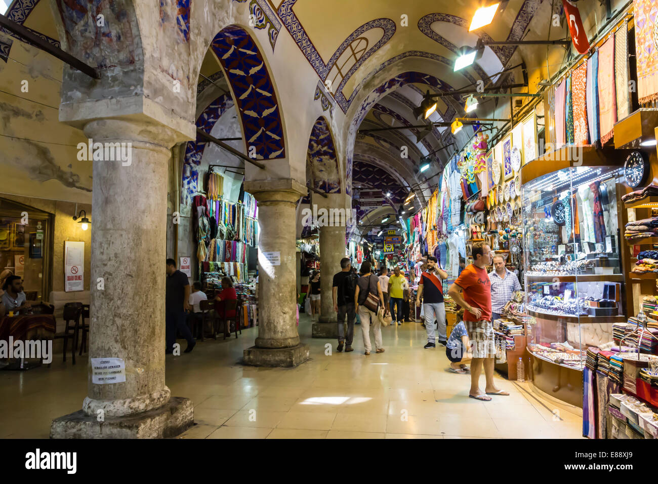 Street with shops and stone columns and decorated ceiling, Grand Bazaar, Istanbul, Turkey, Europe - Stock Image