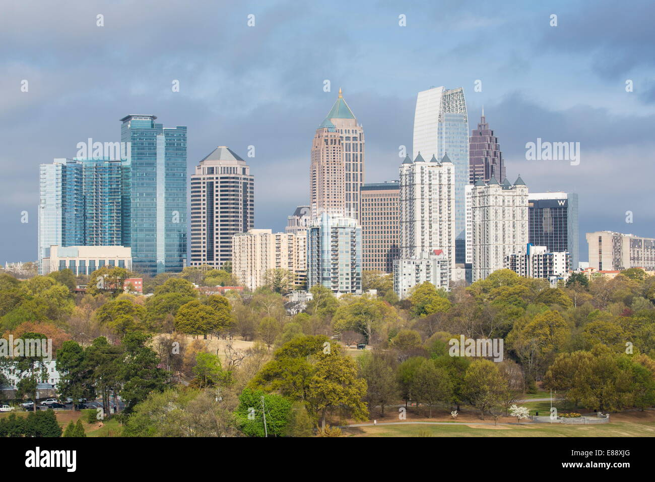 Midtown skyline from Piedmont Park, Atlanta, Georgia, United States of America, North America - Stock Image