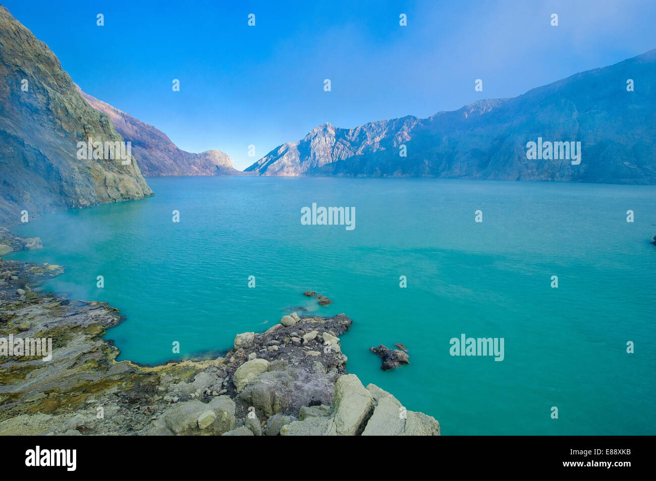 The very acid Ijen crater lake in the Ijen Volcano, Java, Indonesia, Southeast Asia, Asia - Stock Image
