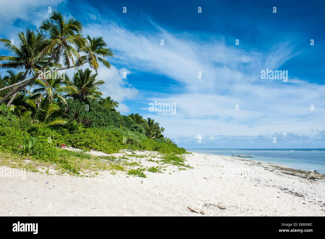 Palm fringed Kolovai beach, Tongatapu, Tonga, South Pacific, Pacific - Stock Image