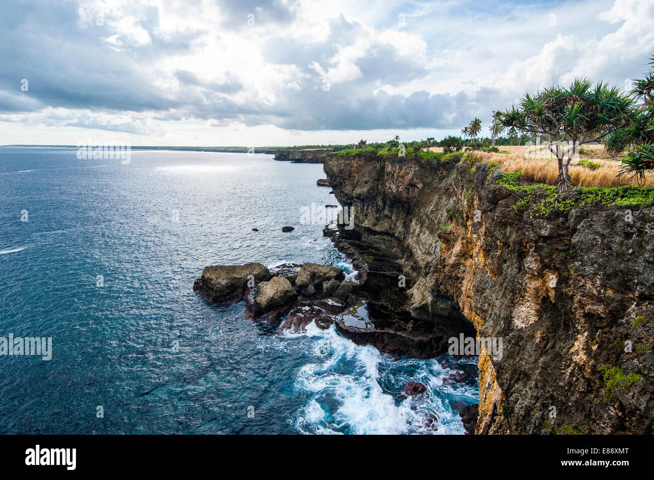 The rocky coast around Ha'ateiho, Tongatapu, Tonga, South Pacific, Pacific - Stock Image