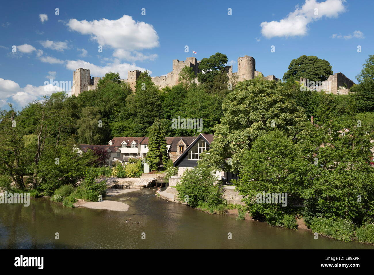 Ludlow Castle above the River Teme, Ludlow, Shropshire, England, United Kingdom, Europe - Stock Image