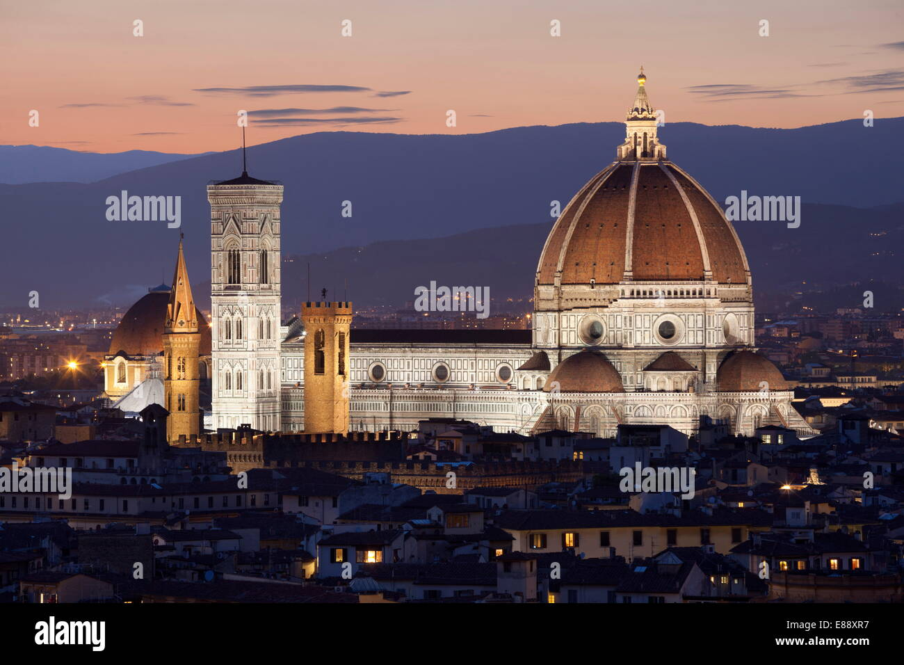 Duomo at night from Piazza Michelangelo, Florence, UNESCO World Heritage Site, Tuscany, Italy, Europe - Stock Image