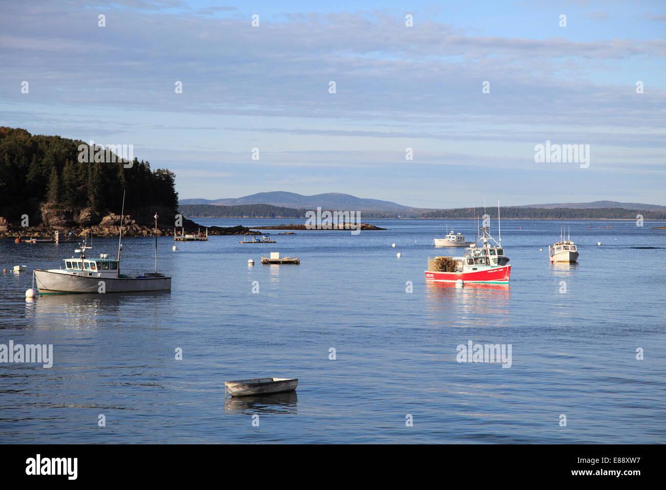 Fishing boats, Bar Harbor, Mount Desert Island, Maine, New England, United States of America, North America - Stock Image