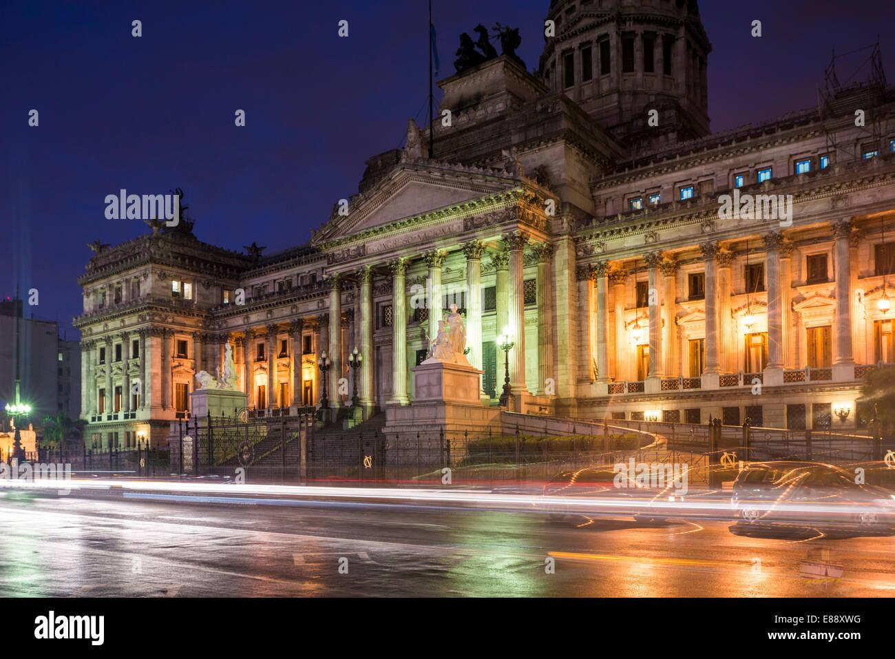 Palacio del Congreso at night, Buenos Aires, Argentina, South America - Stock Image