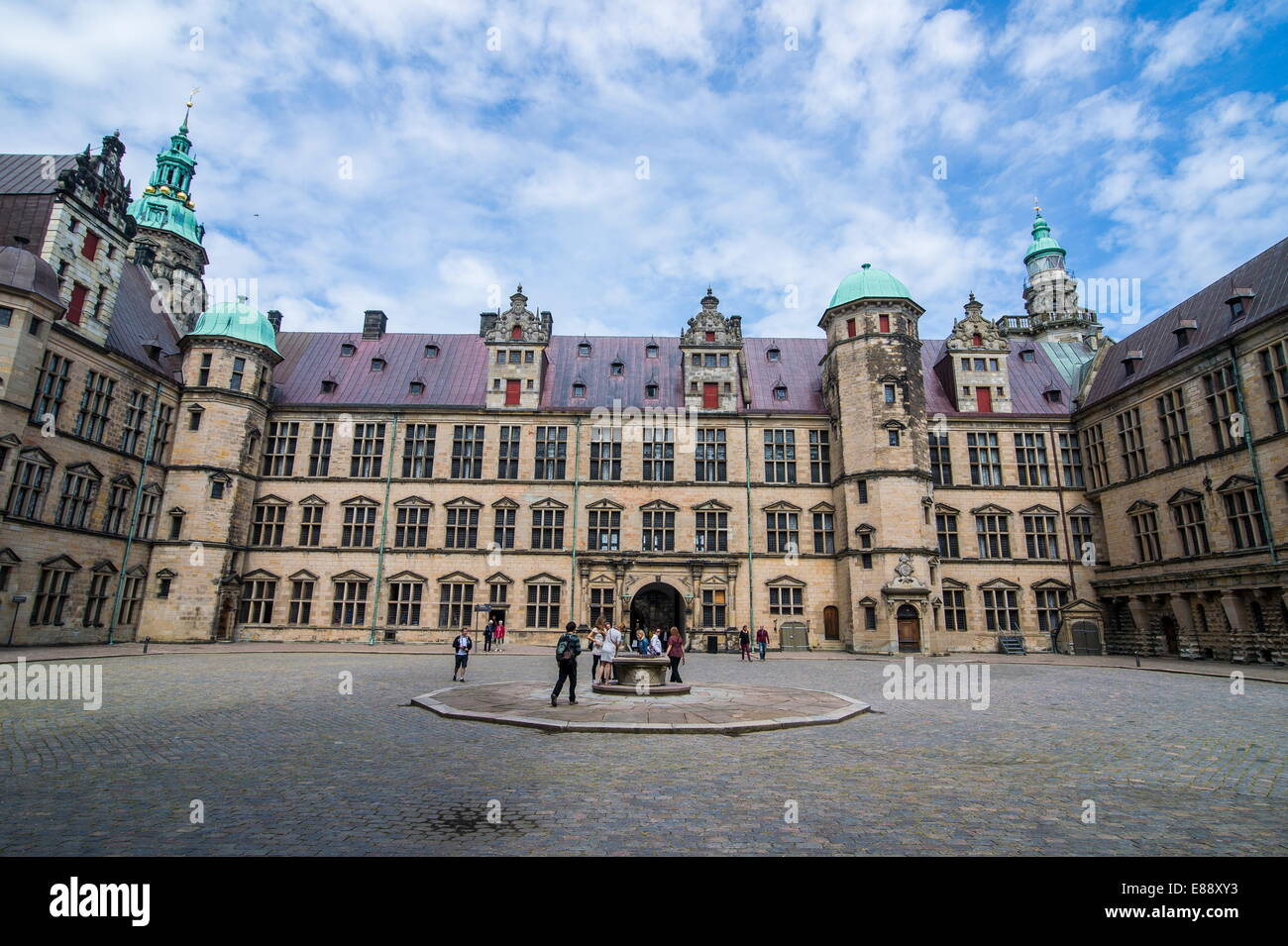 Inner yard in Kronborg Renaissance castle, UNESCO World Heritage Site, Helsingor, Denmark, Scandinavia, Europe - Stock Image