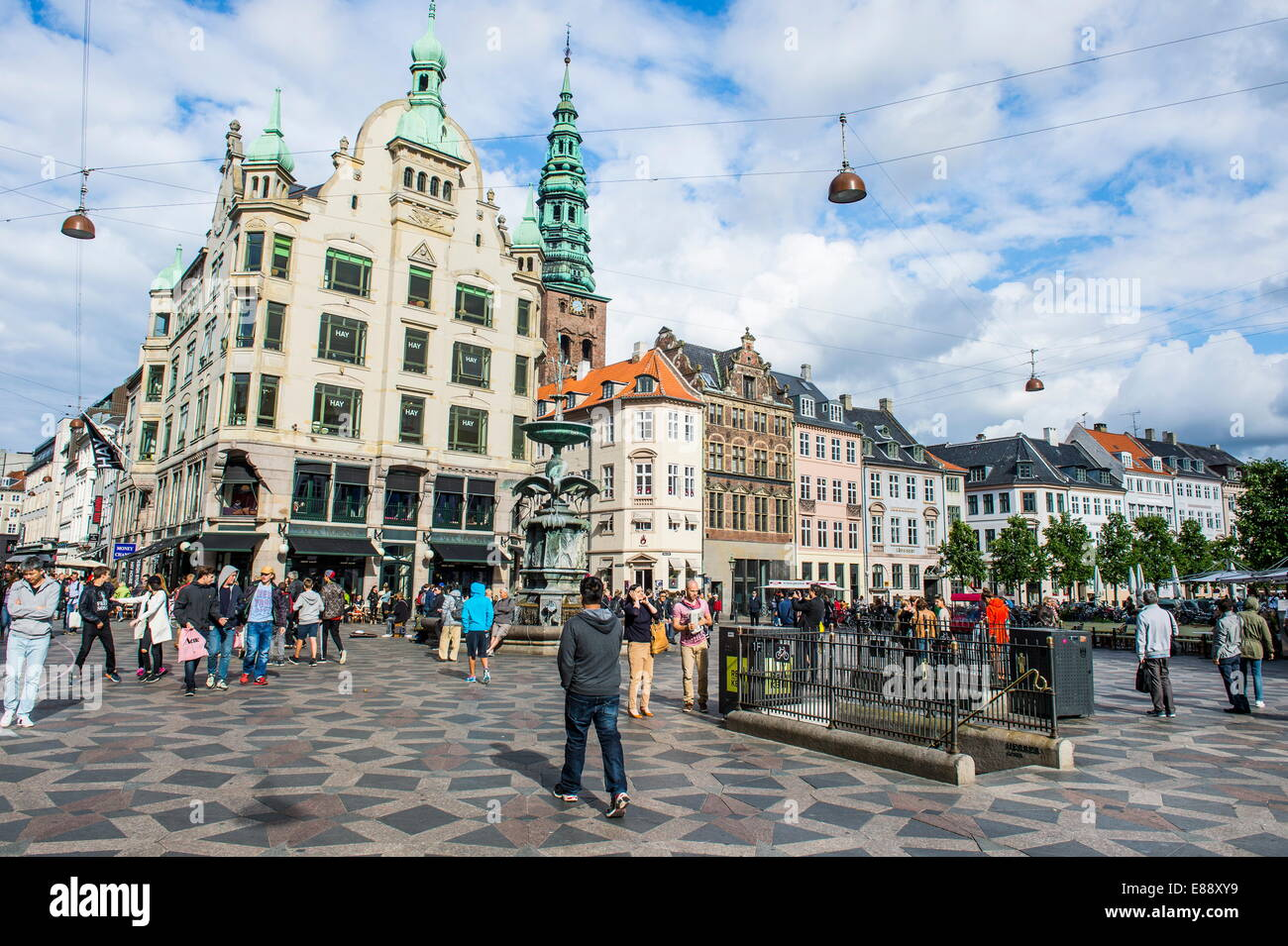 Tourists in Amagertorv (Amager Square), part of the Stroget pedestrian zone, Copernhagen, Denmark, Scandinavia, - Stock Image