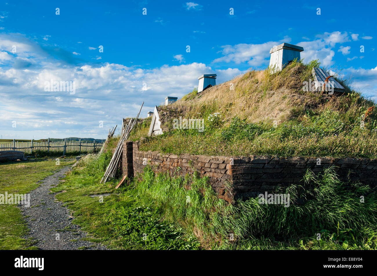 Norse settlement, L'Anse aux Meadows National Historic Site, UNESCO Site, only Viking site in America, Newfoundland, - Stock Image
