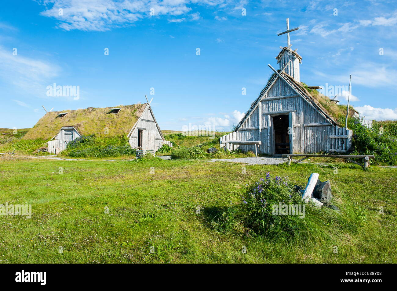 Traditional Viking buildings in the Norstead Viking Village and Port of Trade reconstruction, Newfoundland, Canada - Stock Image