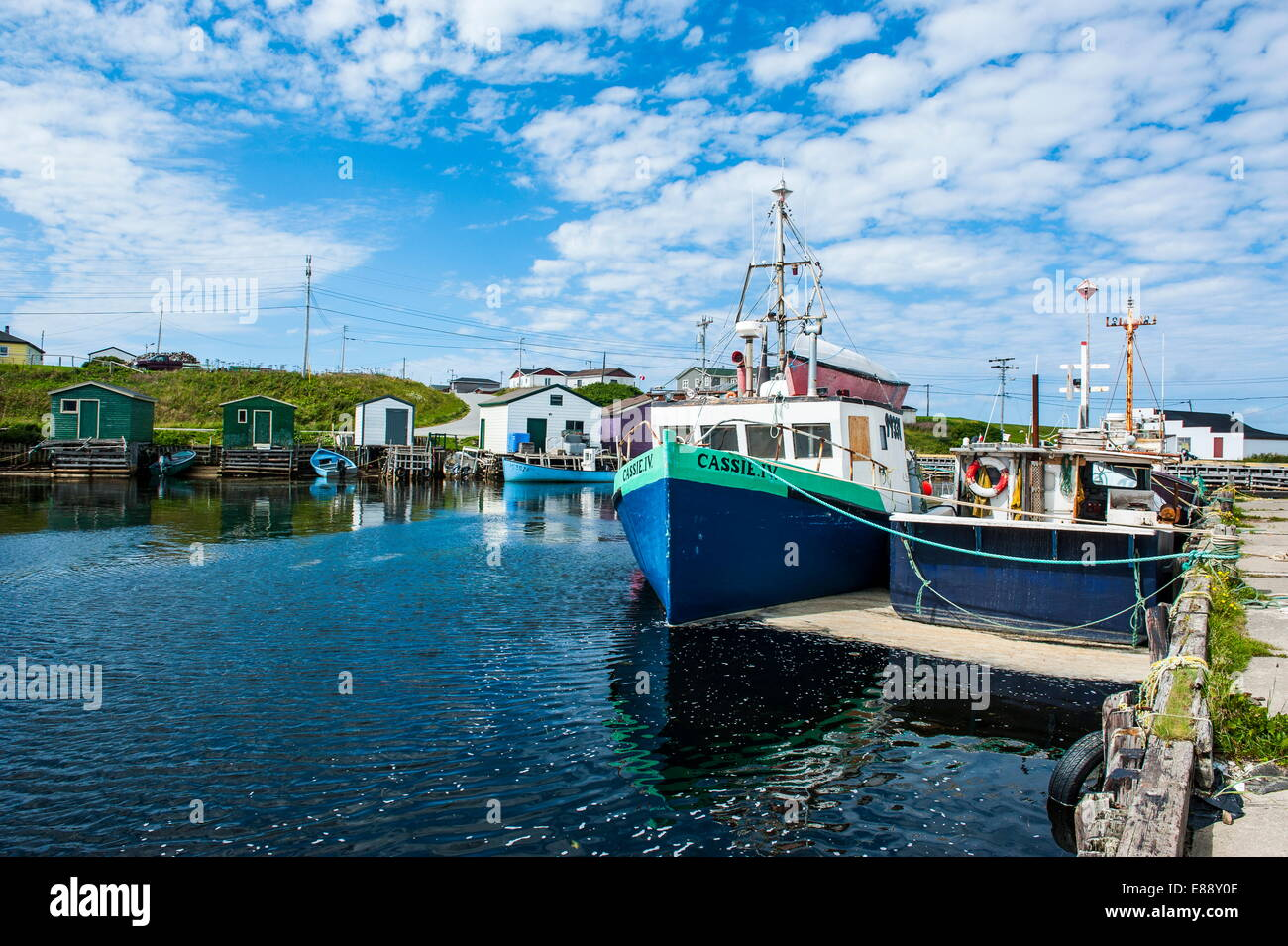 Fishing boats in the harbour of Port au Choix, Newfoundland, Canada, North America - Stock Image