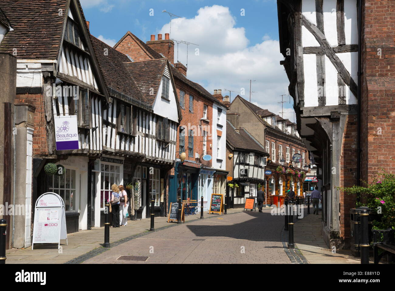 Old half-timbered buildings, Friar Street, Worcester, Worcestershire, England, United Kingdom, Europe - Stock Image