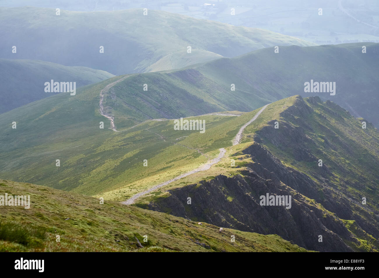 Looking down Scales Fell from the summit of Blencathra in the Lake District, Cumbria, England.UK. - Stock Image