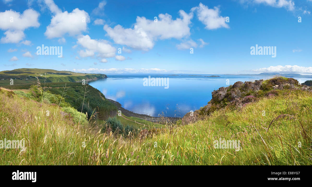 Looking out over Loch Snizort from the cliffs of Score Horan on the Waternish Coastline on the Isle of Skye, Scottish - Stock Image