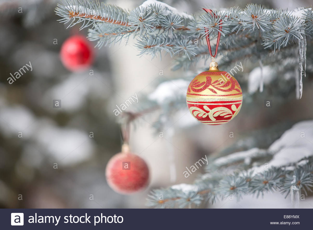 Christmas ornaments hanging from tree - Stock Image