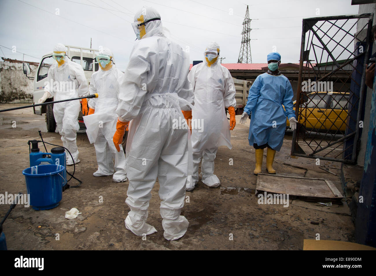 Body removal team after removing the bodies in West Point. West Point a district of Monrovia Liberia quarantined - Stock Image