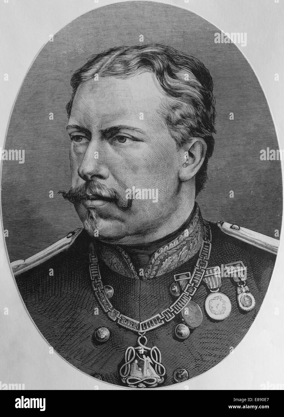 Louis I (1838-1889). King of Portugal between 1861-1889. Engraving, 19th century. - Stock Image